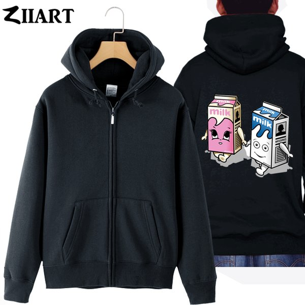 Coffee And TV Blur rock band lovers milk box Parkour couple clothes boy man cotton full zip Hooded Jackets coat