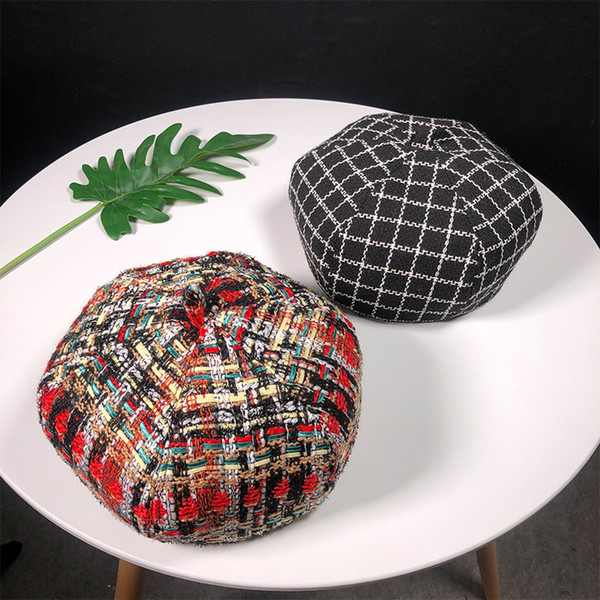 New Artist Hat For Women Female Winter Black White Colorful Plaid Beret Caps Woolen Thicken Knitted Berets