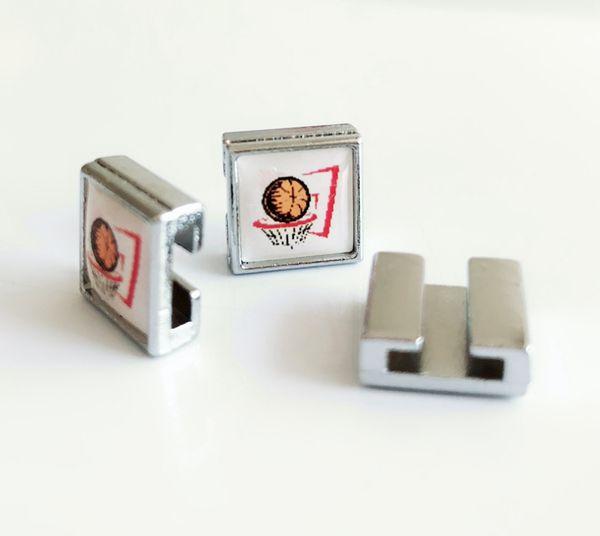 10PCs 8mm Square Plastic Basketball & Box Printed Slide Charms Beads Fit DIY 8mm Bracelets Wristbands,Collar Belt Straps