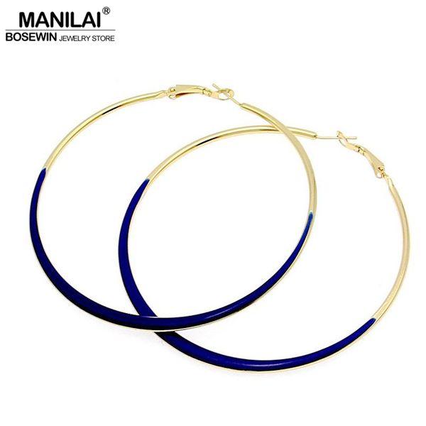 ig hoop earrings MANILAI Fashion Jewelry 75mm Diameter oil-spot glaze Big Hoop Earrings 4 Neon Colors Indian Costume Jewellery pendientes...