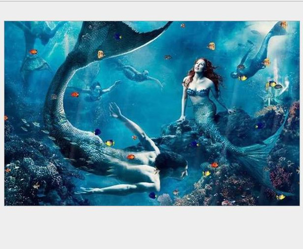 mermaid diamond painting kit full drill wall art mosaic pictures rhinestone pasted needlework kit animals print gem painted hand craft gift