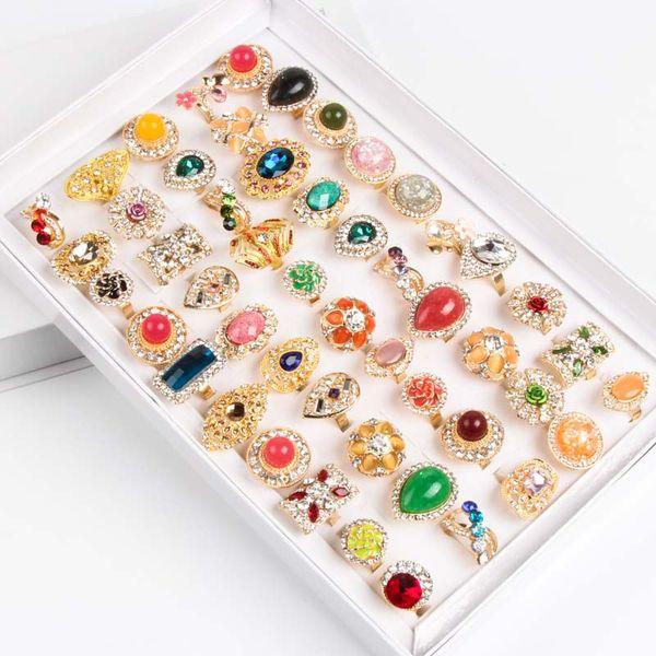 Gros mode en vrac 50 pcs / lot mélanger les styles réglables en alliage d'or cristal plaqué pierre gemme bijoux bohème anneaux discount promotion