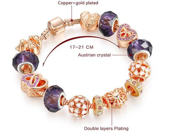 Hotsale Europe Style Cooper y llaveros chapados en oro rosa Aleación violeta Cristal de Murano Perlas sueltas Pulseras con dijes de corazón Encantos