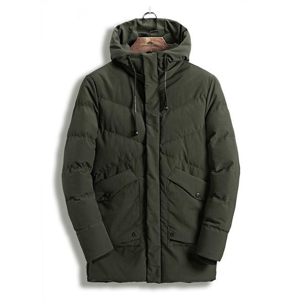 Icpans Parka Men Long Thick Warm Jacket Hooded Men Winter Coat Zipper Pocket High Quality Green Black Parka Fashion Overcoat 3XL