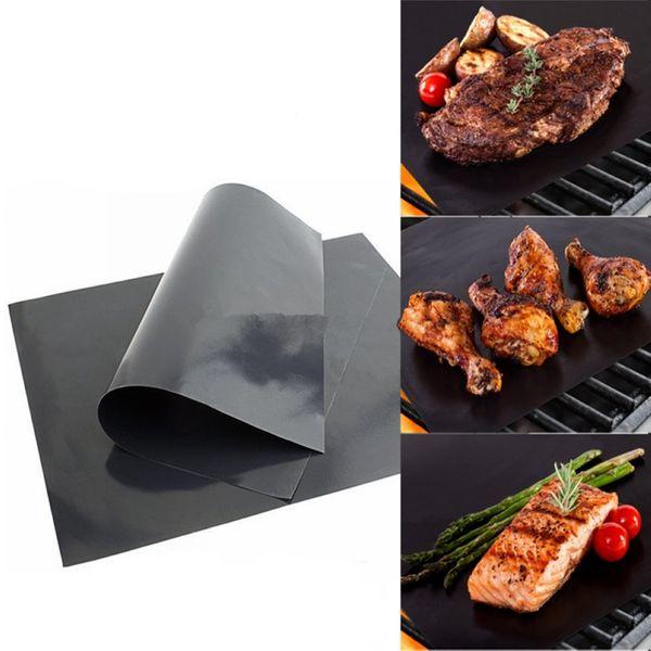 Barbecue Grill Mat Barbecue Gril Liner Portable Antiadhésif et Réutilisable Faire Griller Facile 33 * 40CM 0.2MM Four Noir Plaques Chauffantes