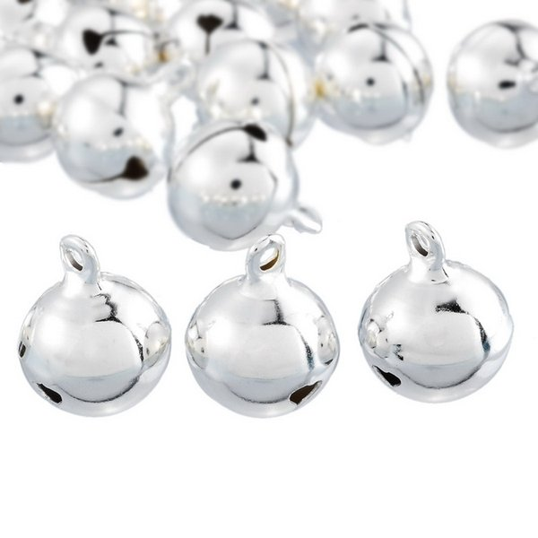 20PCs Silver Bells Pendants Hanging Christmas Tree Ornaments Christmas Decorations Party DIY Crafts Accessories 18x14mm