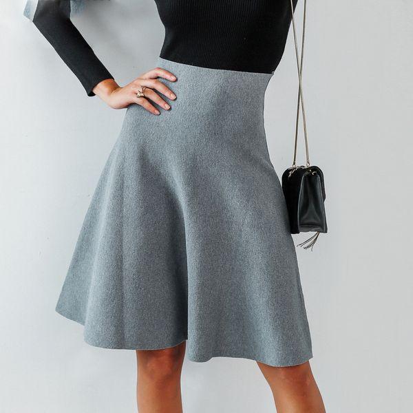 Elegant A-line knitted women skirt fashion Autumn winter mid skirt vintage High waist casual umbrella skirt female