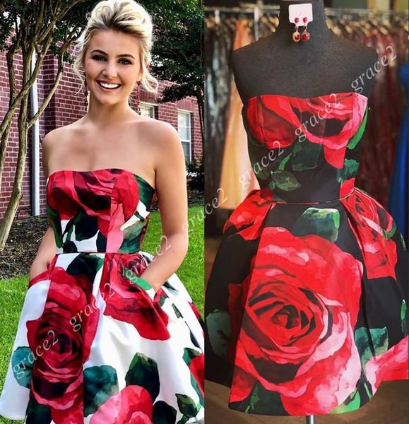 Imprimir Rosas florales Vestidos de baile cortos 2019 Cuello sin tirantes Imágenes reales 2k19 Homecoming Corte de invierno Alfombra roja blanca blanca Vestir