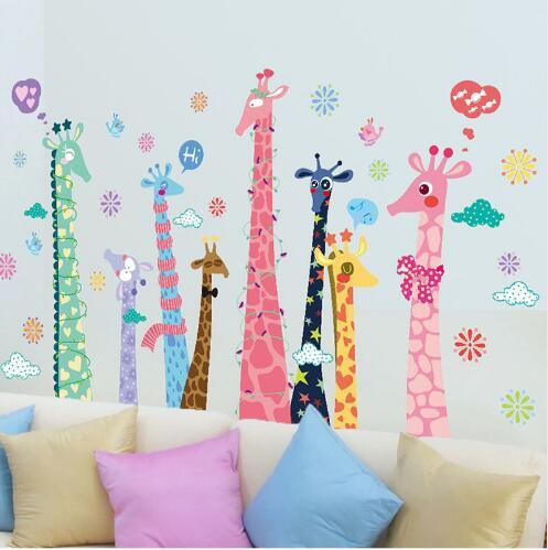 Large Colorful Giraffe Wall Stickers For Kids Rooms Home Decor Living Room  Bedroom Kitchen Children Wall Decal Mural Childrens Bedroom Wall Stickers  ...
