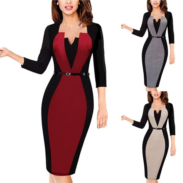 2018 Spring Summer Bodycon Office Work Dress Plus Size Women Pencil Dress New Elegant Half Sleeve Formal Dres FS2200
