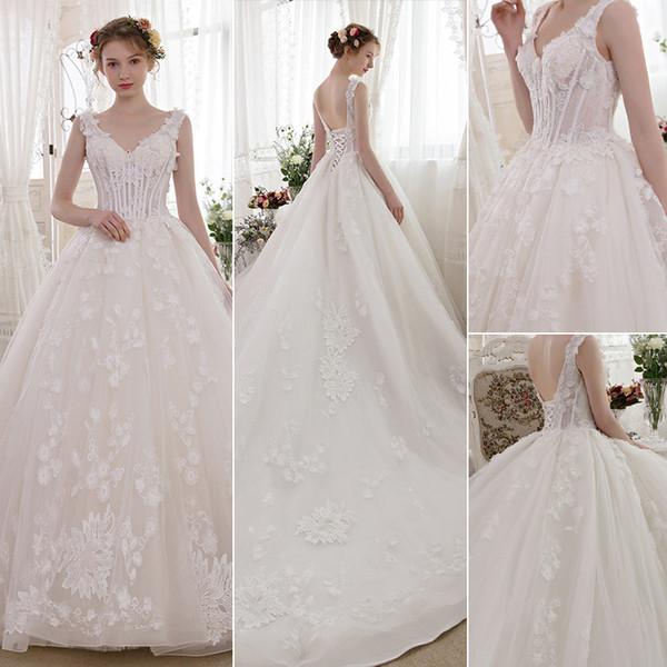Luxury Church Ball Gown Wedding Dresses Plus Size Lace Up Corset Chapel  Long Train Vintage Lace Princess Bridal Wedding Gowns Yellow Wedding  Dresses ...