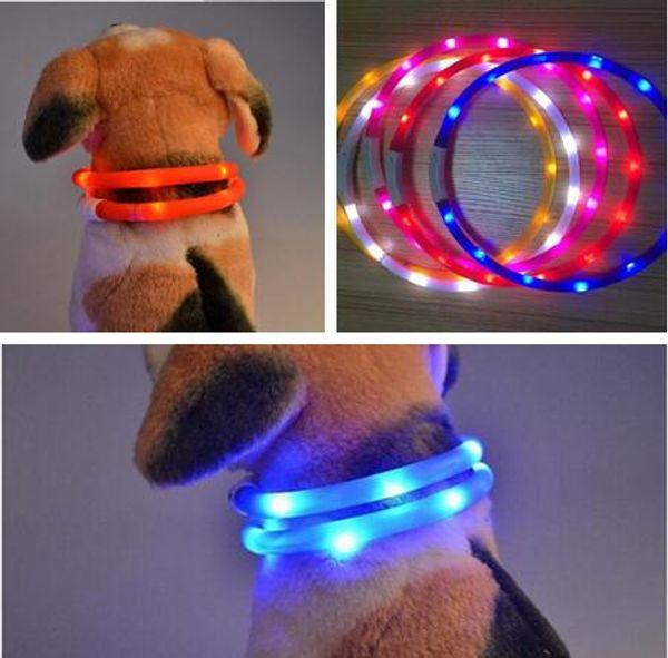 Cut USB Charge Dog Training Collar LED Outdoor Luminous charger Pet Dog Collars light Adjustable 6colors LED flashing dog collar 1CM*70CM