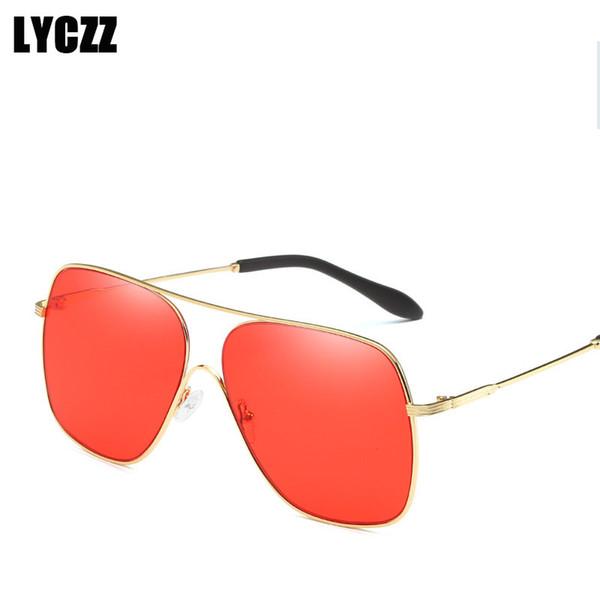 9a689fd7e1 cheap square frames Promo Codes - LYCZZ 2018 Pilot New Vintage Square  Sunglasses Men Big Frame