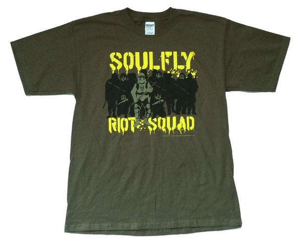 Soulfly Riot Squad Army Olive Green T Shirt New Official Creative Printed T-Shirt Men'S Tee 2017 Fashion Short Sleeve
