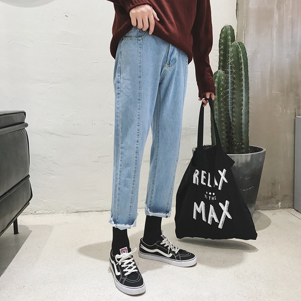 2017 Autumn Korean New Style Classic Men Baggy Blue Solid Color Jeans Straight Full Length Casual Flash Trousers Pencil Pants