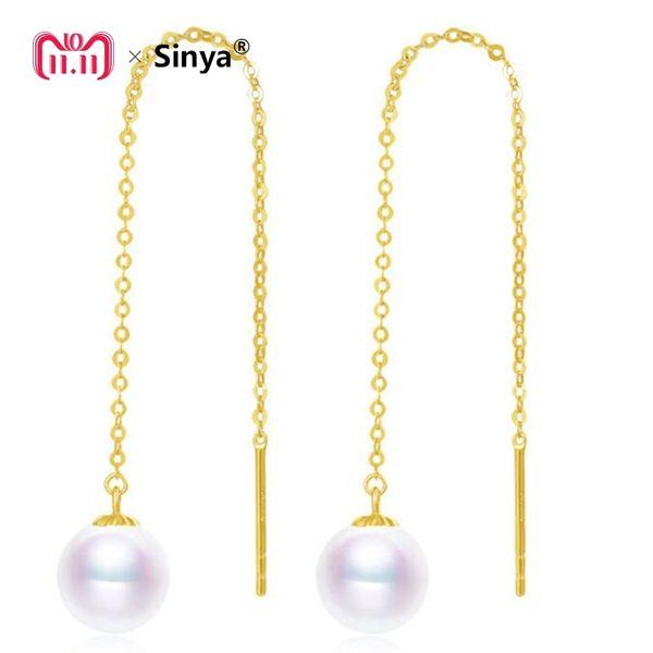 Sinya Au750 boucle d'oreille en or 18 carats avec 7-9 mm de diamètre Perles rondes naturelles de lustre rondes à longue chaîne avec boucle d'oreille pour femme Y18110110