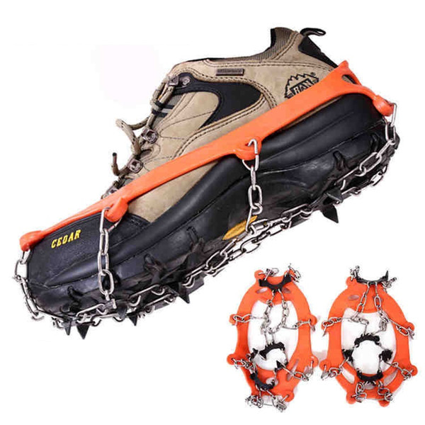 8 Teeth Ice Gripper, Anti Slip Outdoor Snow 8 Nails Spikes Grips Ski Crampons Mountaineering Shoes Grippers Claws Chains Free shipping