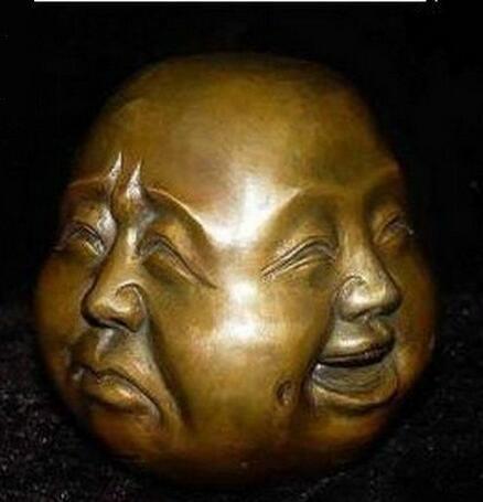 Nadir çin tibet 4 yüzleri buda baş heykeli dekorasyon bakır toptan Dekorasyon gerçek Pirinç
