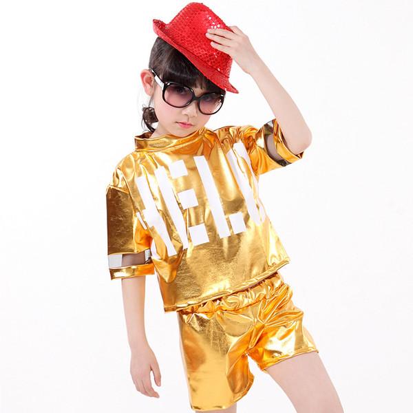 2016 Yeni Tasarım Gümüş Altın Çocuk Kız Erkek Performans Yanıp Hip Hop Caz Modern Dans Suit dans kostüm çocuklar için