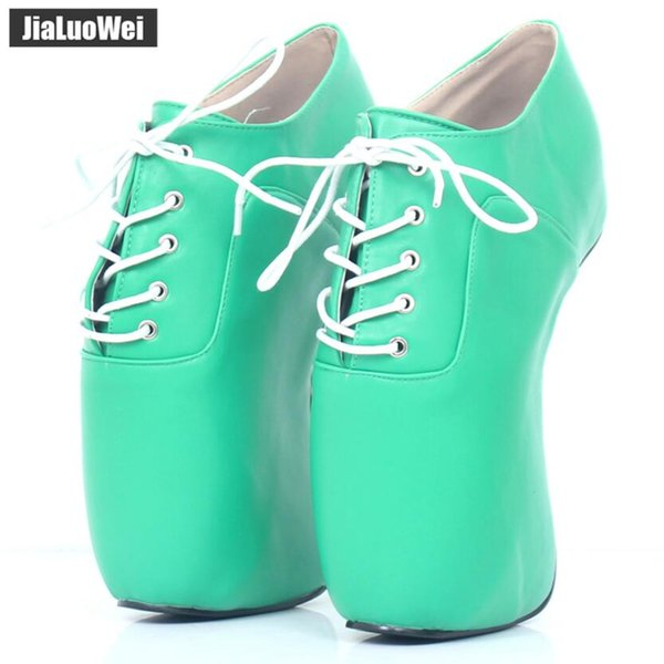 2019 New Women High Heeled Wedges Naked Ballet Boots Sexy Fetish Pony Heel Pumps Lace-Up Man Ankle Party Boots Man COS Shoes 18cm