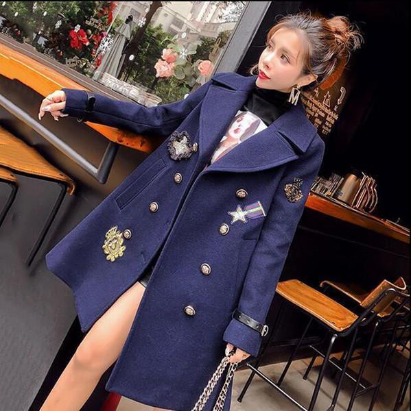 Bayan Yün Blend Yaka Yaka Orta Uzun Kalınlaşmak Ceket Kruvaze Palto