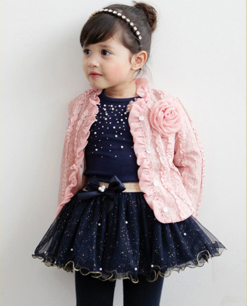 2018 new spring autumn baby girls outfits jacket coat+Tshirt tops+tutu skirts 3pcs set children girl outwear suit with flower brooch