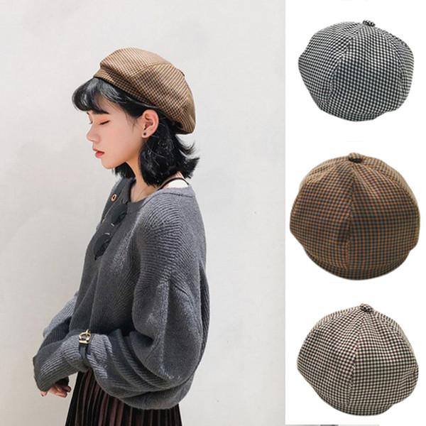 Herbst und winter neue stil warme mütze unisex künstler ski baumwolle cap khaki schwarz kaffee farbe vintage houndstooth beret