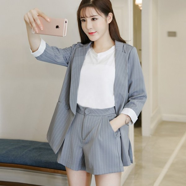 7df97352dc509 2019 2019 NEW New Fashion Office Lady 2 Two Piece Set Shorts Suit Women  Elegant Striped Blazer Jacket+Shorts Suit Women Summer Tracks From  Dreamcloth, ...