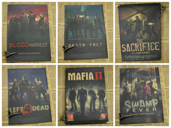 Gioco Adesivo murale poster kraft Left 4 Dead Far Cry 4 Saints Row Dying Light Decorative paintings Retro Poster