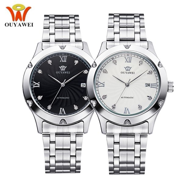 OUYAWEI Silver Steel Water resistance Date Mechanical Watch Men Automatic Self-wind Mens Wrist Watches Luxury Business Clock