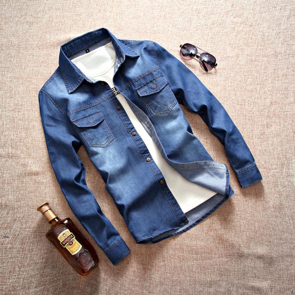 beautyjewly / Homens Camisas De Denim Manga Longa No Peito Dois Bolsos Jean Camisa moda Homens Cowboy Mens Cowboy Lavado Denim Camisa 5XL Tamanho Grande 8001