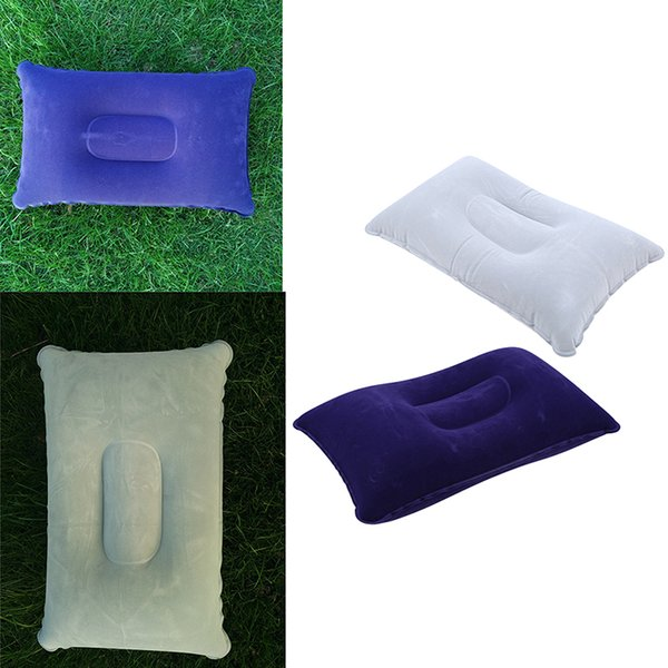 1pcs Portable Folding Air Inflatable Pillow Outdoor Travel Pillow Double Sided Flocking Cushion for Travel Plane Hotel