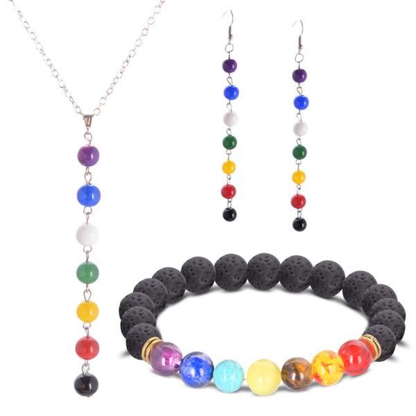 Modeschmuck Set Bunte Perlen BraceletNecklaceEarring Naturstein 7 Reiki Chakra Healing Balance Perlen Liebhaber Geschenk