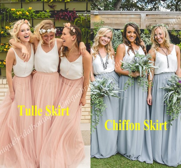 luxury aesthetic united kingdom top quality Separates Bridesmaid Dresses 2018 White Top Tulle Or Chiffon Skirt Wedding  Guest Party Gowns Cheap Junior Honor Of Maid Dress Oscar Floral Bridesmaid  ...