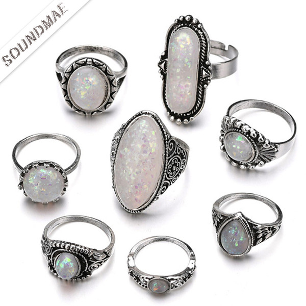 National Fashion Mix Lots 8Pcs Classic Fashion Solitaire Treasure Gem Silver Plated Rings for Women and Girls Cheap Whole Jewellery Soundmae