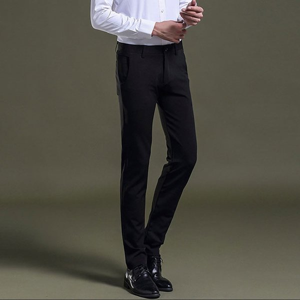 Men Slim Fit Skinny Black Suits Pants Classic Fashion Mens Business Pants Male Formal Dress Black Trousers Pantalon Size 38
