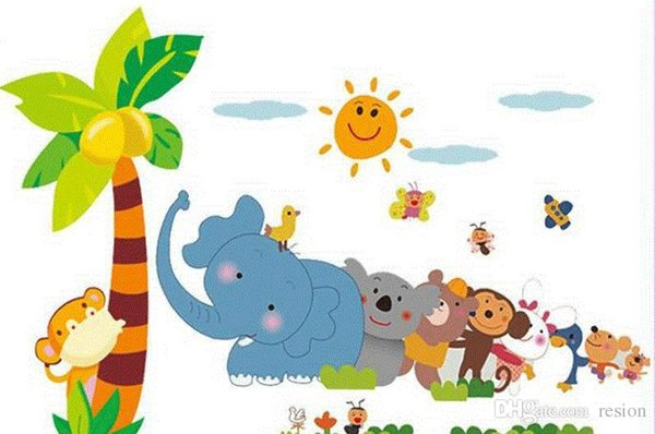 Wholesale Cartoon wall stickers Cute Animal elephant tree PVC wall stickers home decor for Children Room