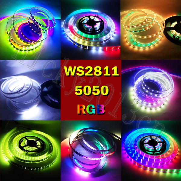 Супер Яркий WS2811 IC 5050 RGB LED Pixel Гибкая Лента Света Ленты Адресуемый 12 В 5 М 150 СВЕТОДИОДОВ 240 СВЕТОДИОДОВ 300 СВЕТОДИОДОВ Волшебный Цвет Чеканка Цифровой