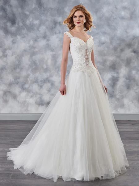 Beauty Ivory Lace/Tulle Applique Beads A-Line Wedding Dresses Bridal Pageant Dresses Wedding Attire Dresses Custom Size 2-16 KF1021155
