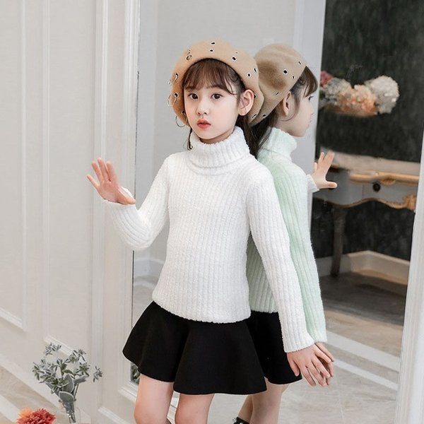 High Neck Teen Girls Sweater Autumn Winter Christmas Pink White Kids Pullover Knit Children Sweater Tops Toddler Clothing