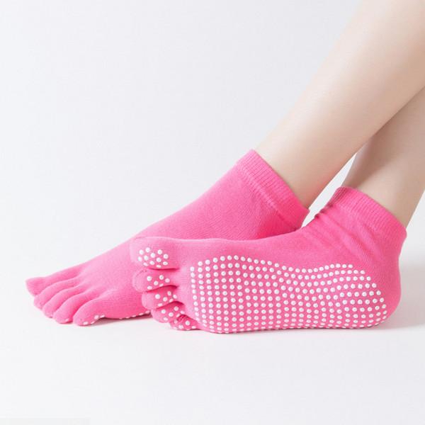 Chaussettes de yoga chaussettes doigts printemps-été pour femmes antidérapantes, massage de la pratique du yoga en coton de haute qualité, tube court