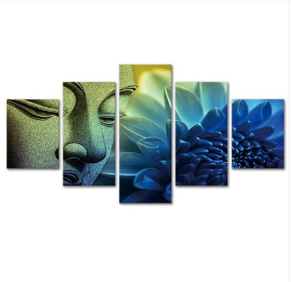 Blue flower buddha,5 Pieces Canvas Prints Wall Art Oil Painting Home Decor (Unframed/Framed)