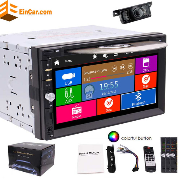 Rear Camera included! Autoradio 2 Din in Dash Headunit MP3 Music Car Stereo Auto Radio Car DVD Player in Deck Double Din Electronics