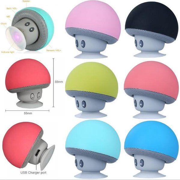 New type cartoon Mashroom Mini Bluetooth Speaker Portable Outdoor Subwoofers Loudspeaker For iphone tablet pc with Stand Holder and Sucker