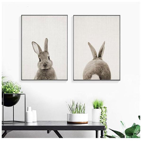 Negro Blanco Bebé Conejo Animal Conejo Lienzo de Arte de Impresión y Póster Nursery Bunny Pintura de Lienzo para Niños Habitación Nordic Decoración de la pared