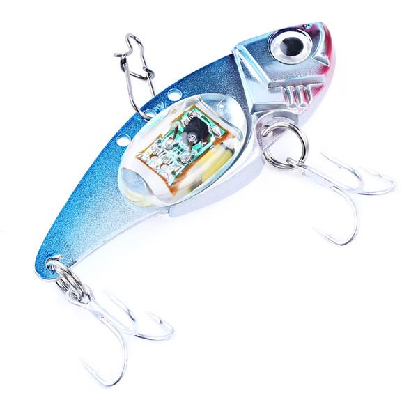 LED Lighting Fish Shape VIB Sinking Lure with Sharp Hook Deepwater Fishing Flashing Lamp Tackle Hooks Outdoor