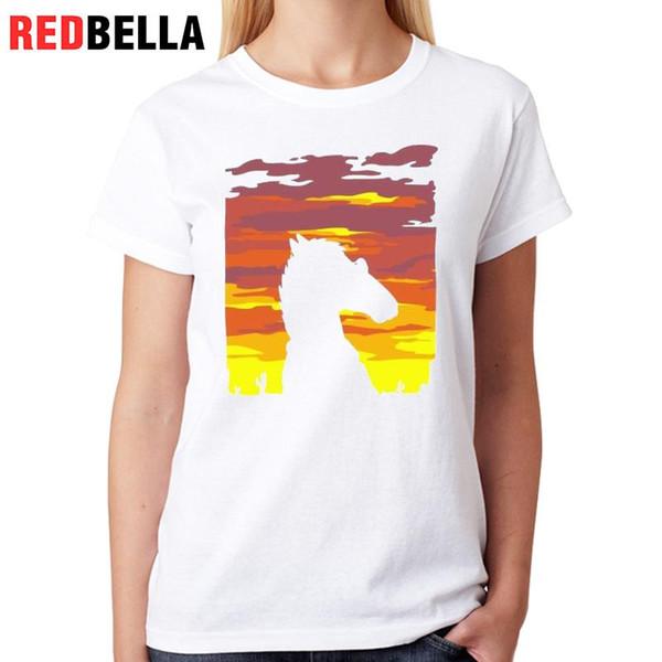 Women's Tee Redbella 2017 T Shirt Funny Horseman Bojack Cartoon Tv Animated Horse Casual Cotton Fashion White Short Sleeve T-shirt Women Top