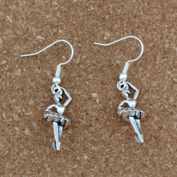 Ballet girls Charm Earrings silver Fish Ear Hook 24pairs/lot Antique silver Chandelier Jewelry 9.5x43.8mm A-348e