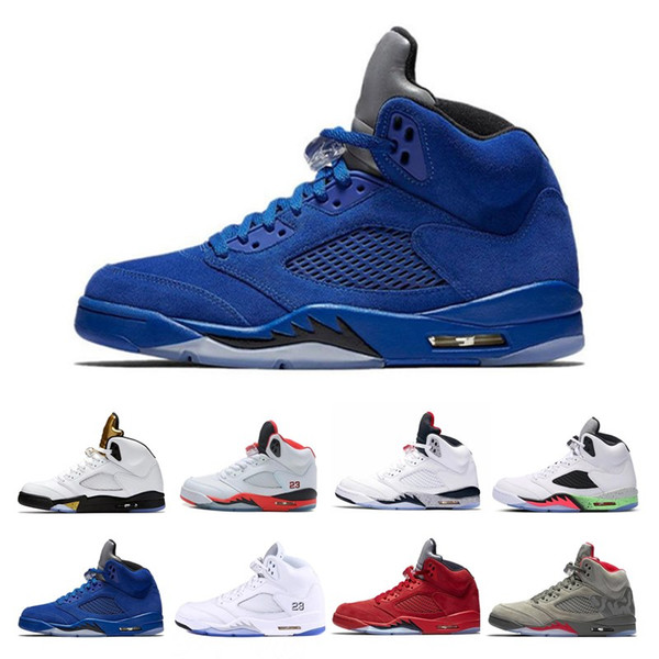 2018 mens Basketball shoes 5 5s V Olympic metallic Gold White Cement Man OG Black Metallic red blue Suede Sport Sneakers size 8-13