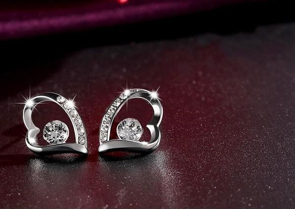 12 paare / los, LIXINTAI Liebe modellieren Edlen schmuck Ohrringe Mit Swarovski Kristall Intarsien Österreich Kristall Glitzernden Nicht verblassen Ohrstecker